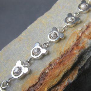 Sterling Silver Stardust Teddy Bear Bracelet