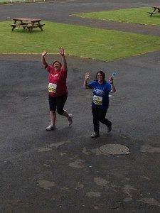 Super Women About to Cross the Finish Line