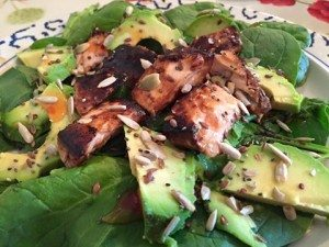 Weight Loss Lessons - teriyaki salmon with avocado