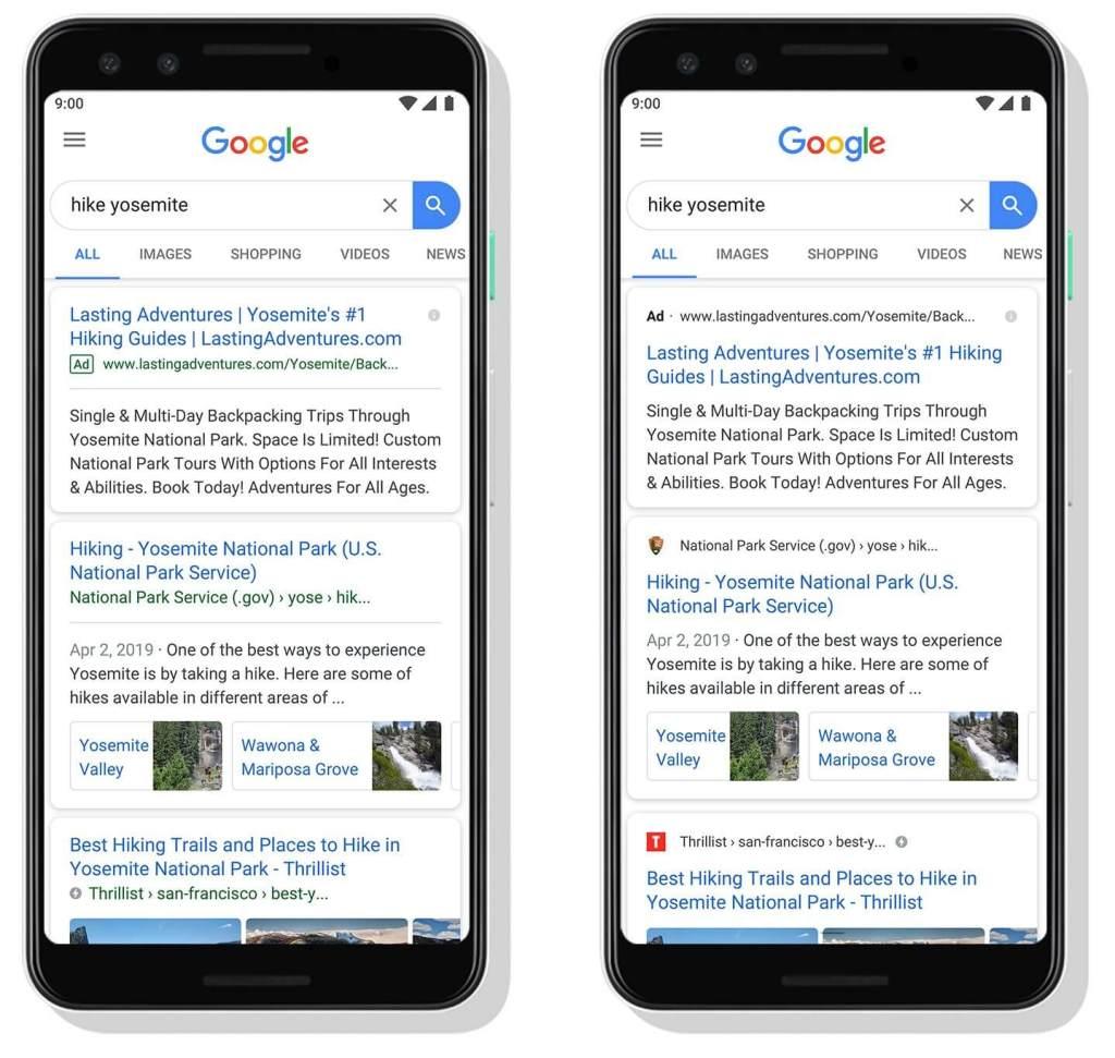 Differenze tra la vecchia versione della SERP mobile e le nuova