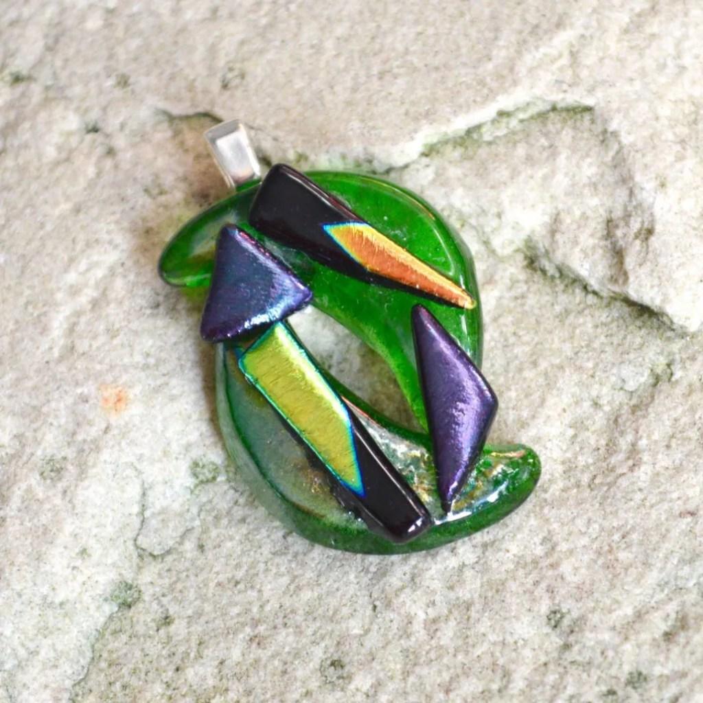 Wicksteads AWDesignsUK Abstract Bottle Green Dichroic Glass Pendant