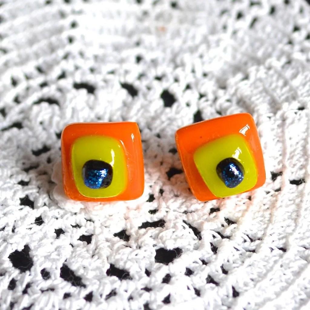 Wicksteads AWDesignsUK Orange Yellow Dichroic Glass Sterling Silver Stud Earrings