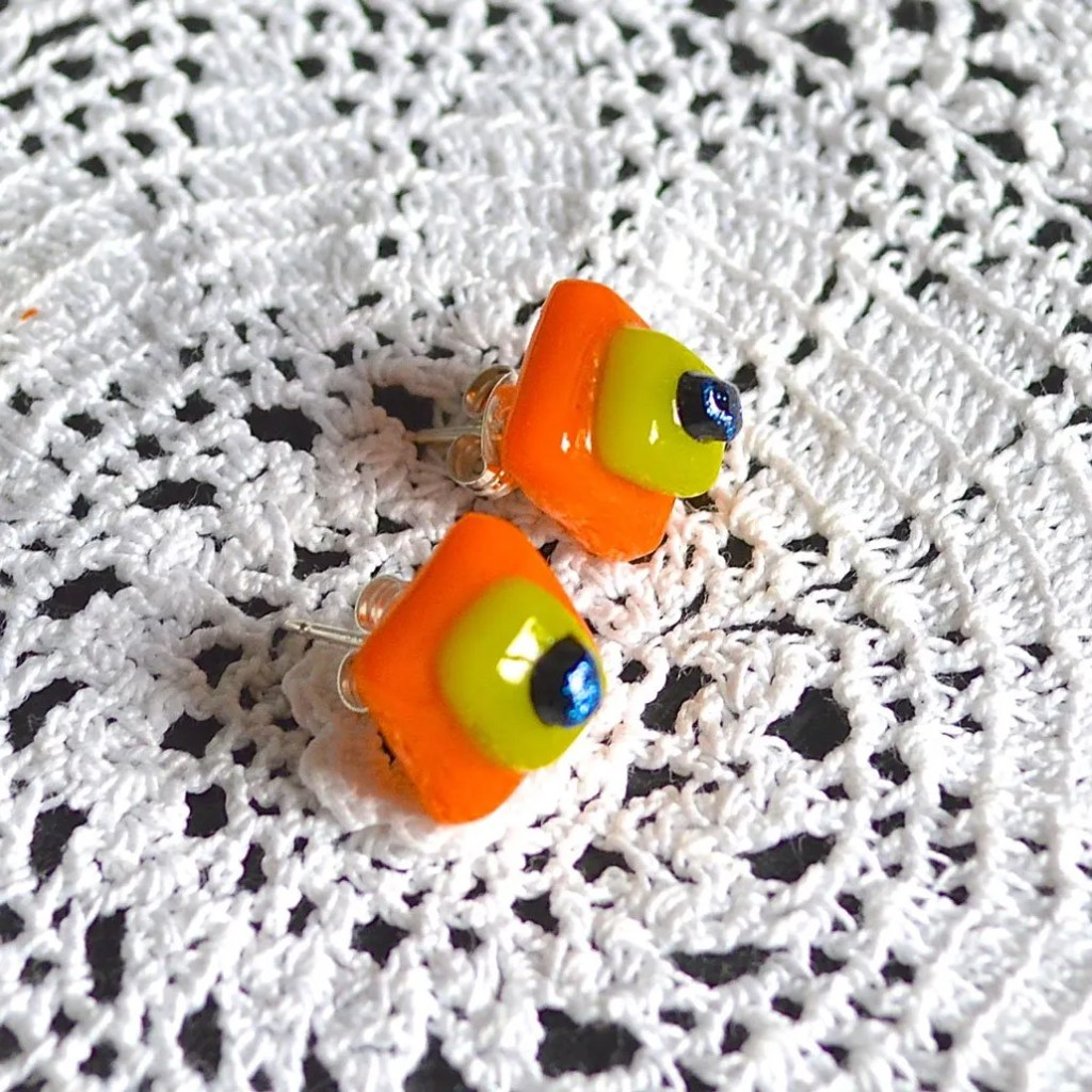 Wickstead's-AW-Designs-UK-Bright-Orange-Yellow-Sterling-Silver-Dichroic-Glass-Stud-Earrings-(5)