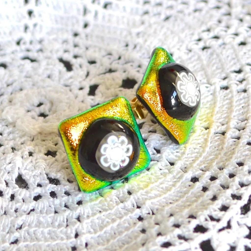 Wicksteads AWDesignsUK Golden Lime Dichroic Glass Stud Earrings