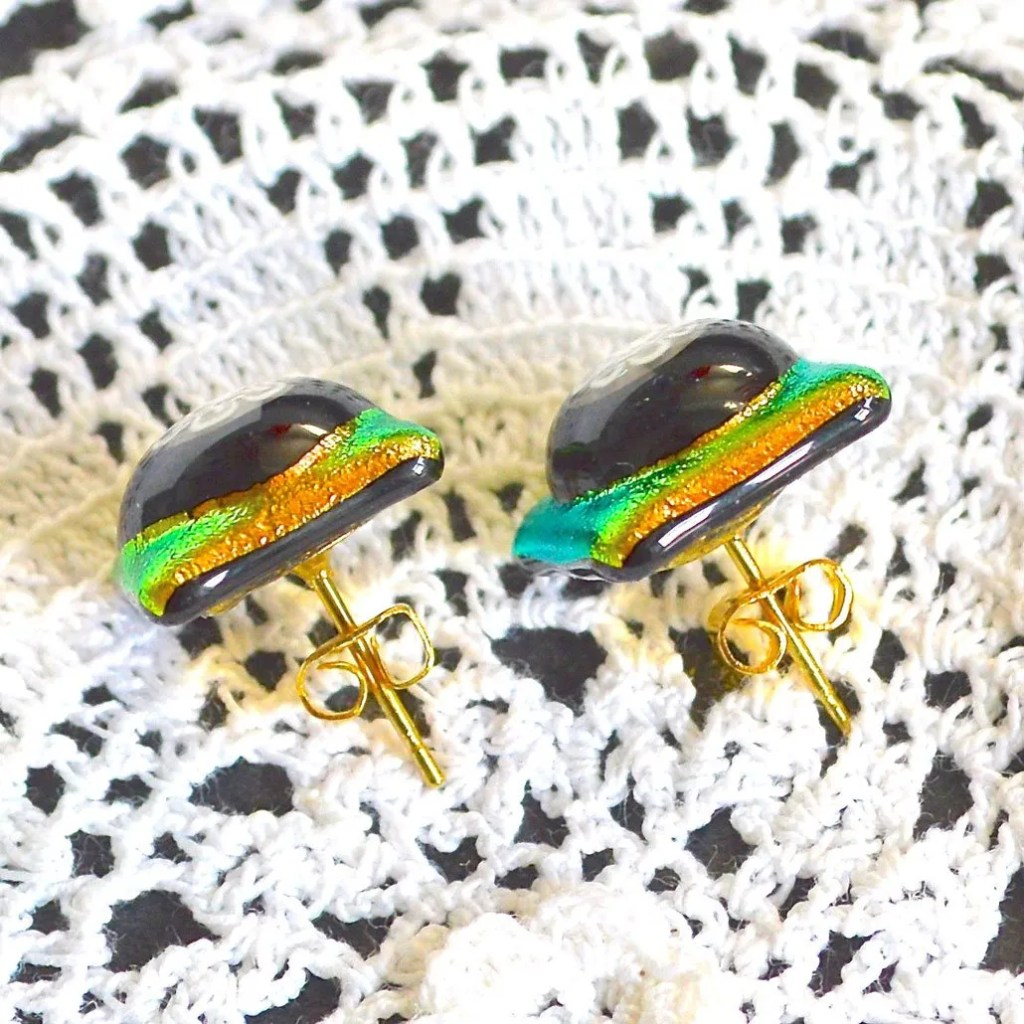 Wickstead's-AW-Designs-UK-Golden-Lime-Dichroic-Glass-Stud-Earrings-(5)