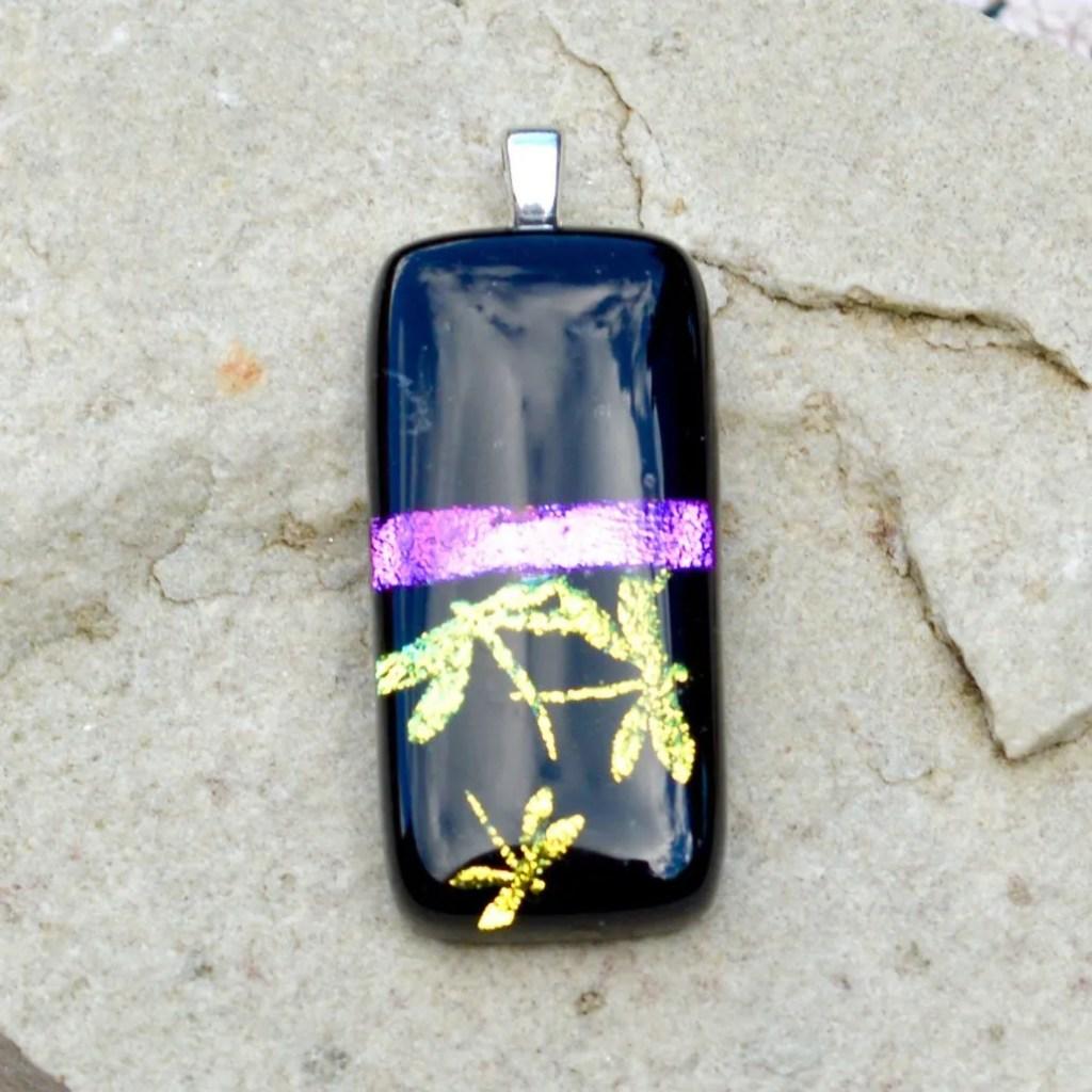 Wickstead's-AW-Designs-UK-Iridescent-Black-Purple-Dragon-Fly-Dichroic-Glass-Pendant-(4)