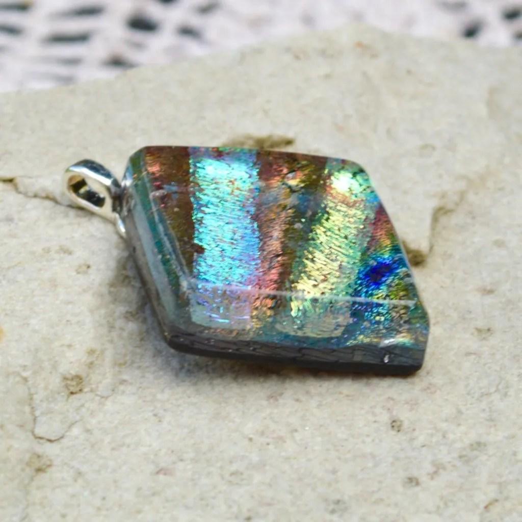 Wicksteads AWDesignsUK Iridescent Multi-Coloured Diamond Dichroic Glass Pendant