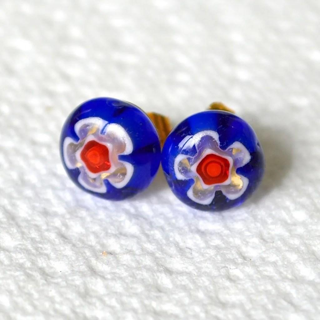 Wickstead's AWDesigns UK Royal Blue Millefiori Stud Earrings