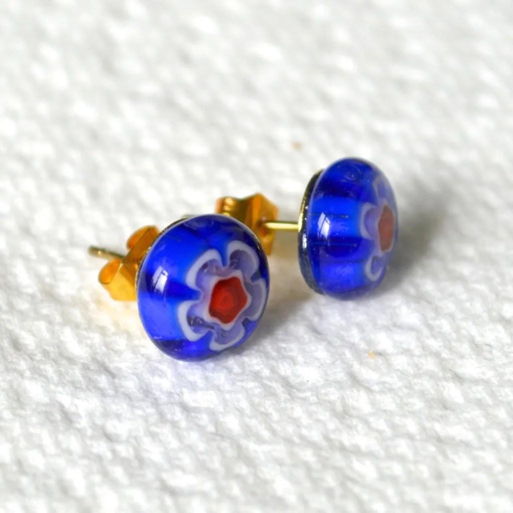 Wickstead's-AW-Designs-UK-Millefiori-Blue-Glass-Stud-Earrings-(2)