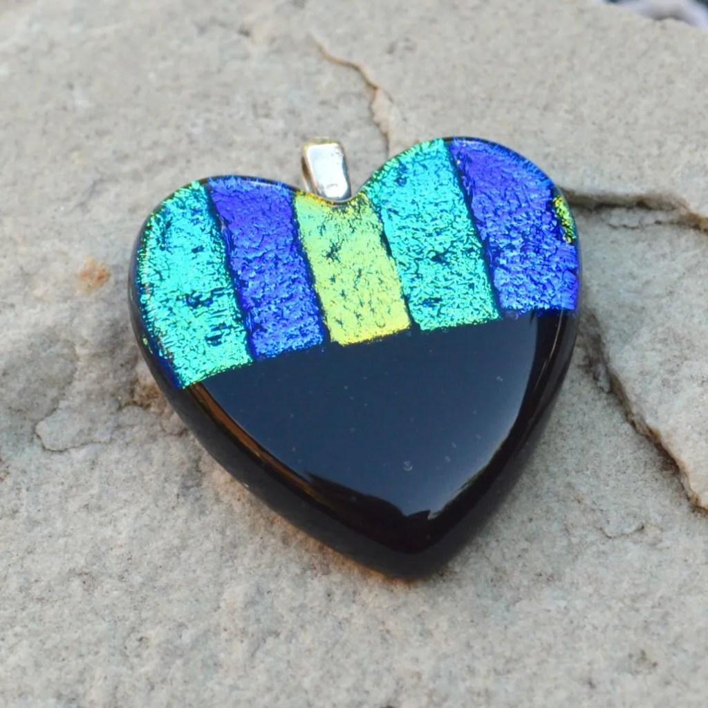 Wicksteads AWDesignsUK Ocean Blue Black Heart Dichroic Glass Pendant