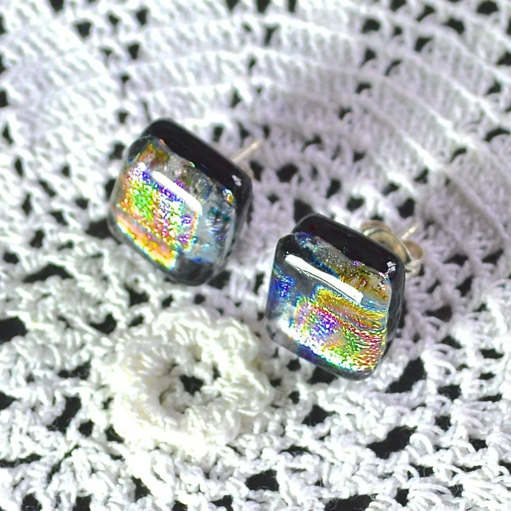 Wicksteads AWDesignsUK Metallic Rainbow Dichroic Glass Sterling Silver Stud Earrings
