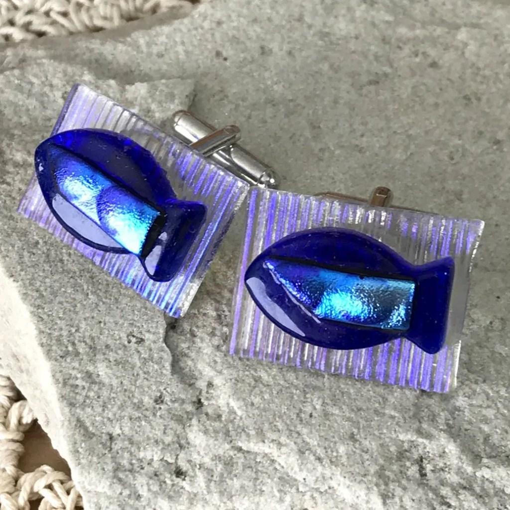 Wickstead's-AWDesigns-Blue-Fish-Dichroic-Fused-Glass-Cufflinks (2)