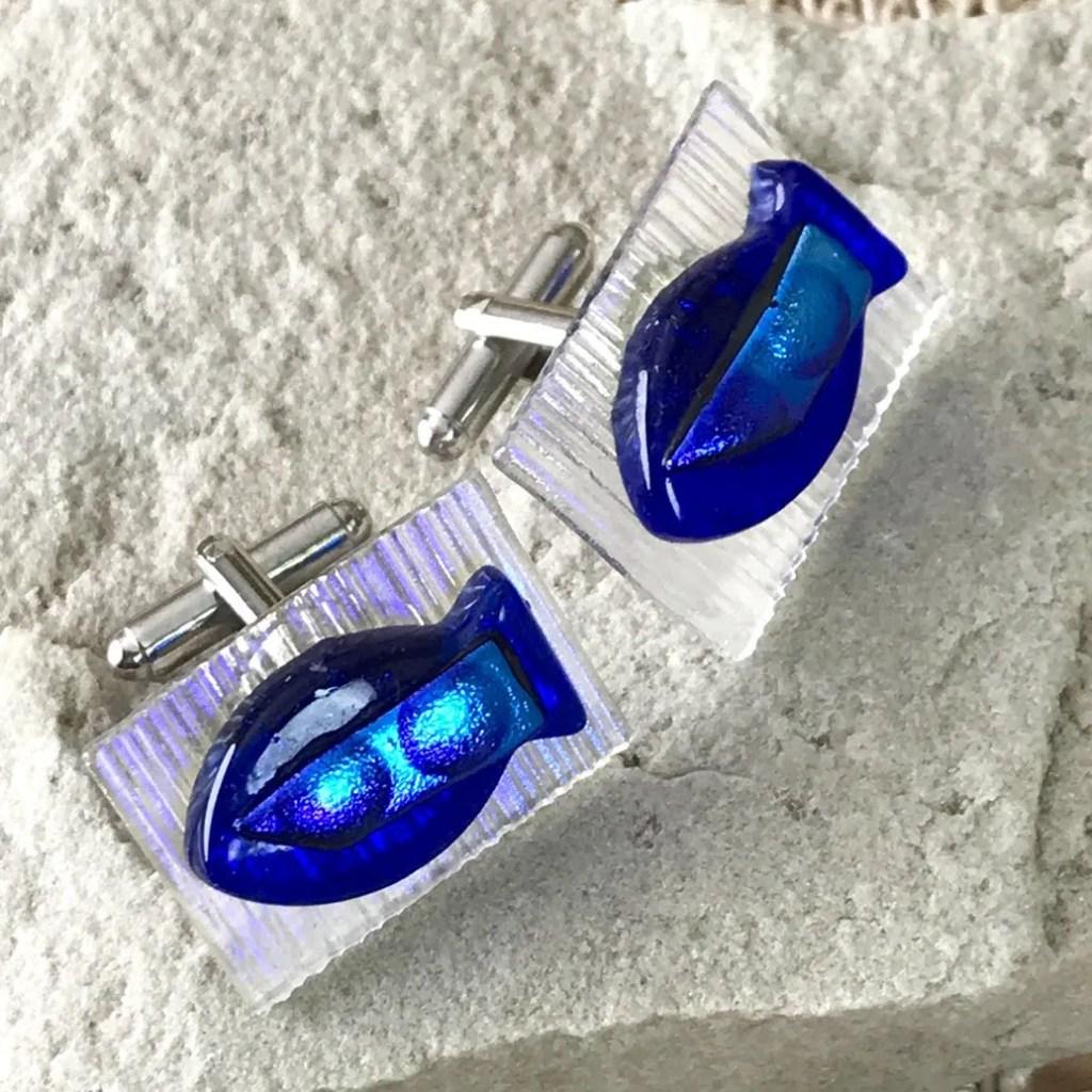 Wickstead's-AWDesigns-Blue-Fish-Dichroic-Fused-Glass-Cufflinks (4)