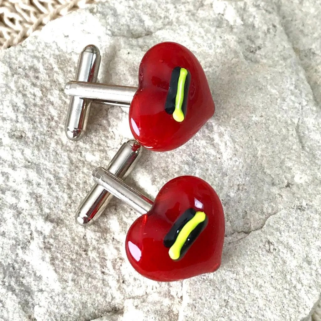 Wickstead's-AWDesigns-Red-Heart-Fused-Glass-Cufflinks-with-Yellow-and-Black-Detailing-(6)