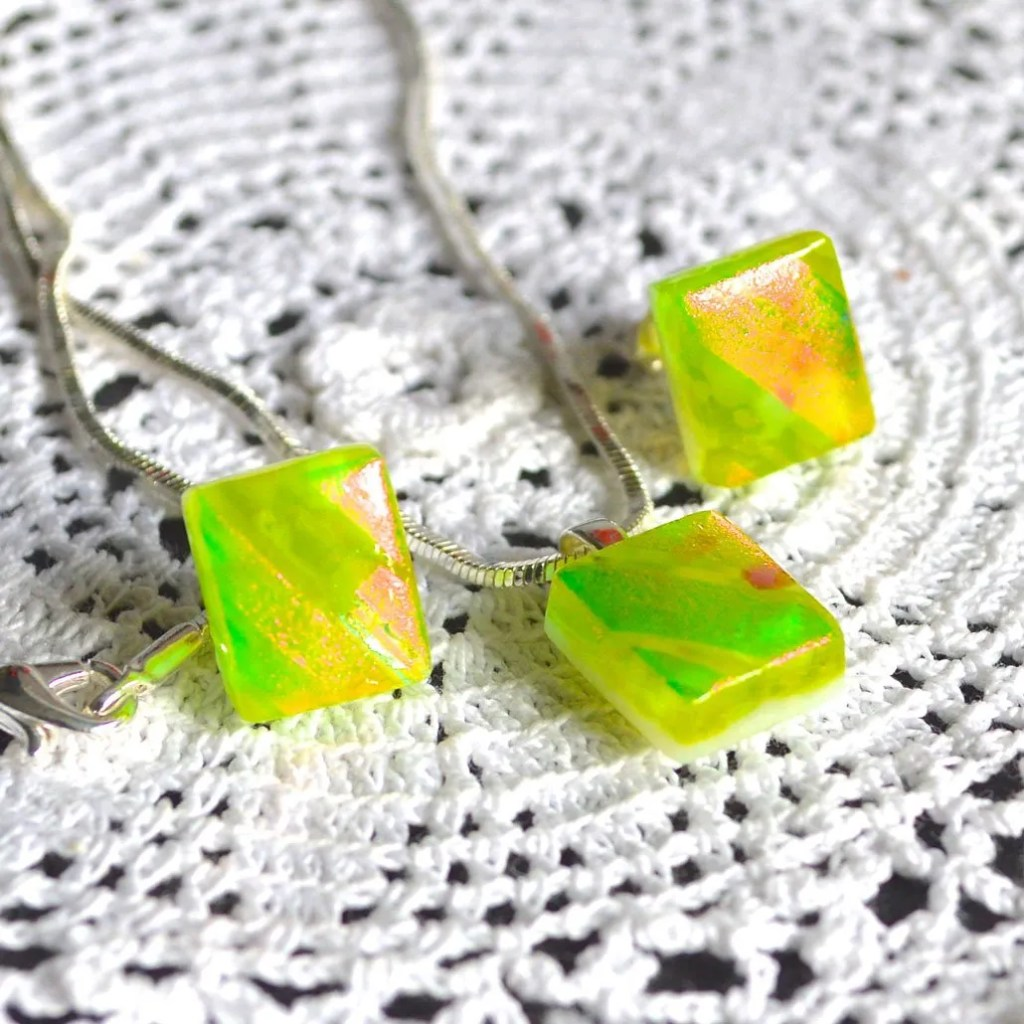 Wicksteads AWDesignsUK Lime Green Dichroic Glass Stud Earrings & Pendant on Sterling Silver Fittings & Necklace