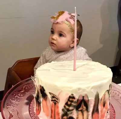 Wickstead's-Customer-Photo-of-our-Dessert-Blush-feathers-on-a-1st-Birthday-Cake