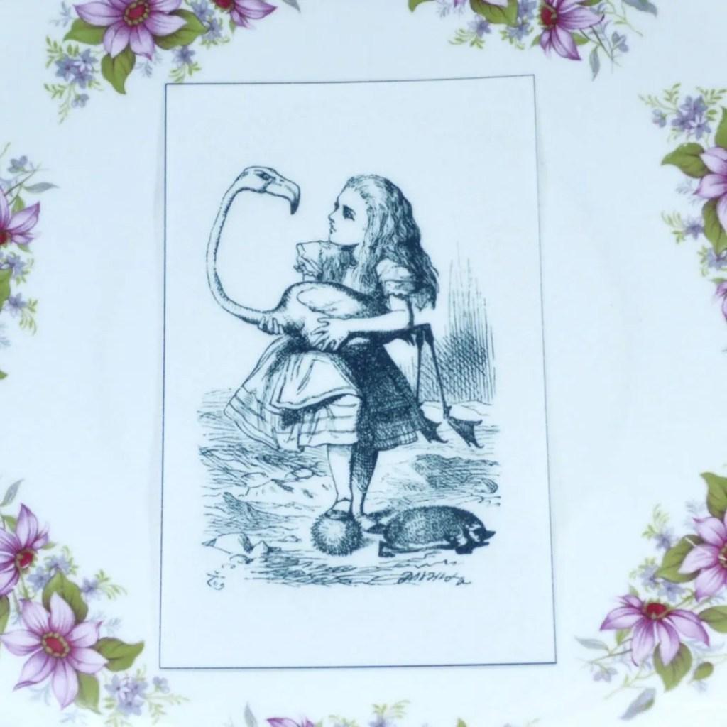 Wickstead's-Eat-Me-Edible-Black-&-White-Alice-in-Wonderland-Illustrations-Alice-Flamingo
