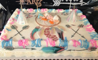 Wickstead's-Customer-Photo-of-our-Edible-Boho-Feathers-on-Boy-&-Girl-Gender Reveal Newborn-Cake