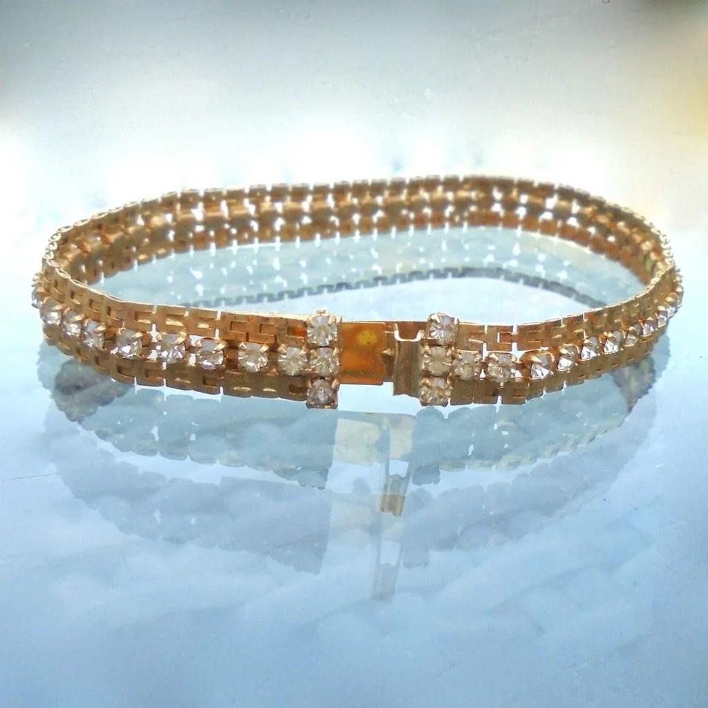 Wickstead's-Jewels-Treasures-Vintage-Costume-Jewellery-Gold-Chain-Bracelet-Clear-Diamante-Rhinestones-(5)