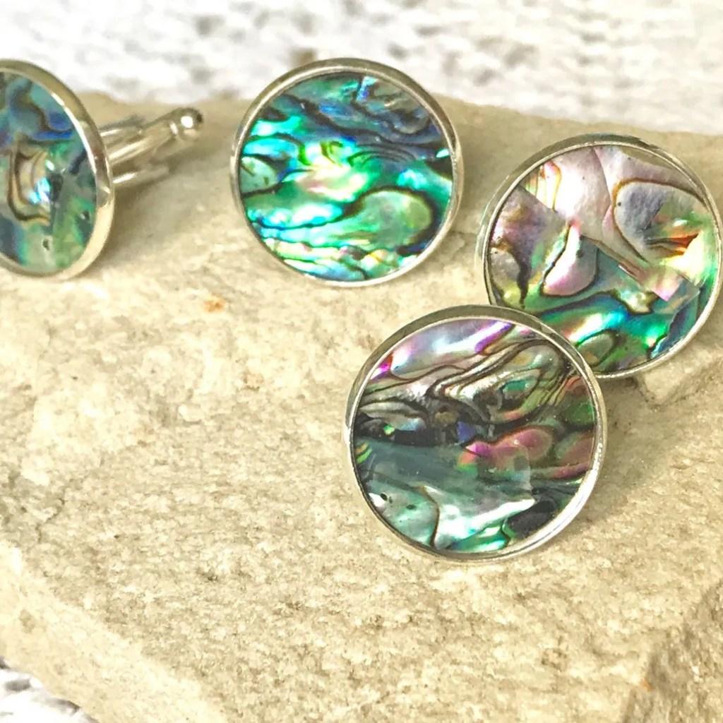 Wickstead's-Mr-Wickstead-Abalone-Paua-Shell-Set-Silver-T-Bar-Cufflinks-Colourful-Iridescent-Blue-Green-Rainbow-(2)