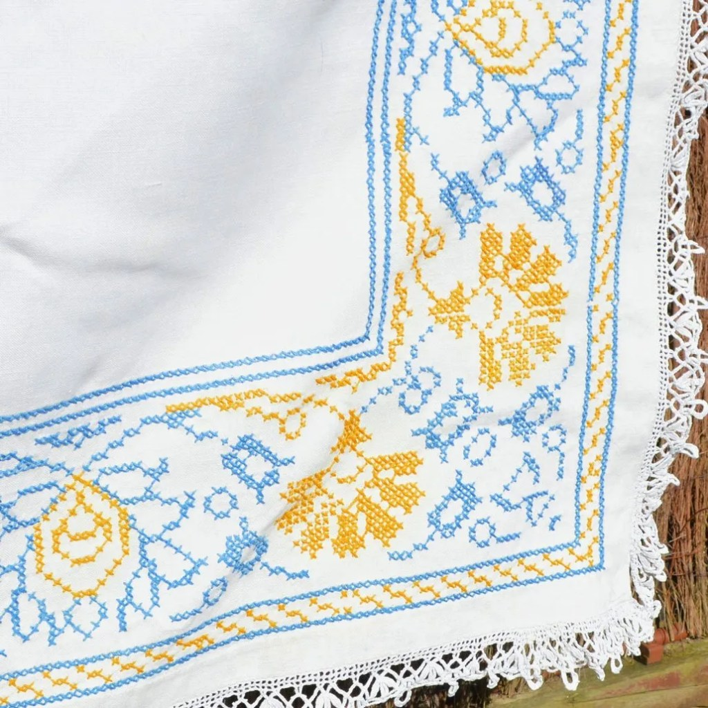 Wickstead's-Home-&-Living-Yellow-Blue-Cross-Stitch-Square-Tablecloth-(4)