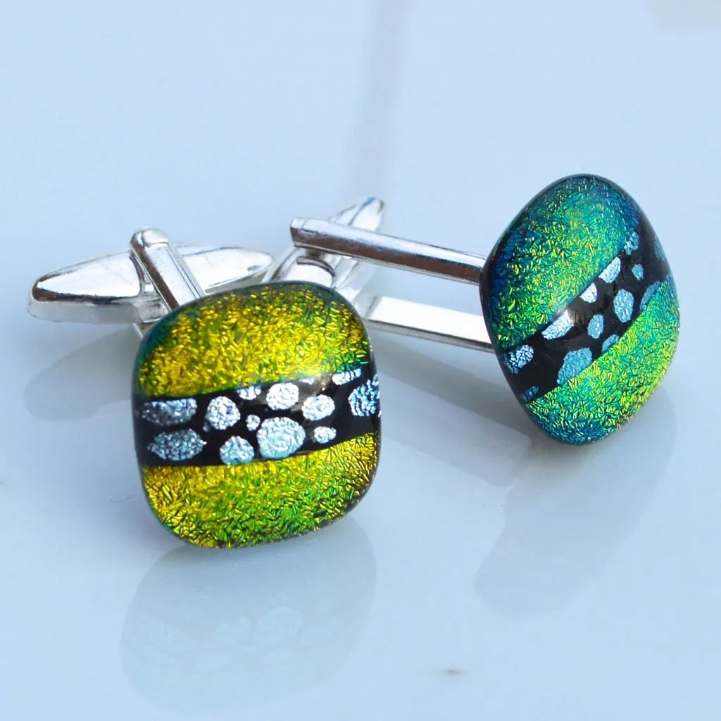 GreenGold-with-centre-BW-bubble-pattern-Cufflinks-(1)