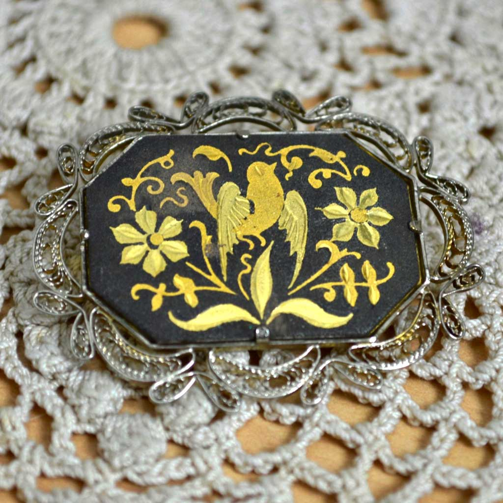 Wicksteads-Jewels-and-Treasures–Damascene-Brooch-Bird-&-Flowers-(2)