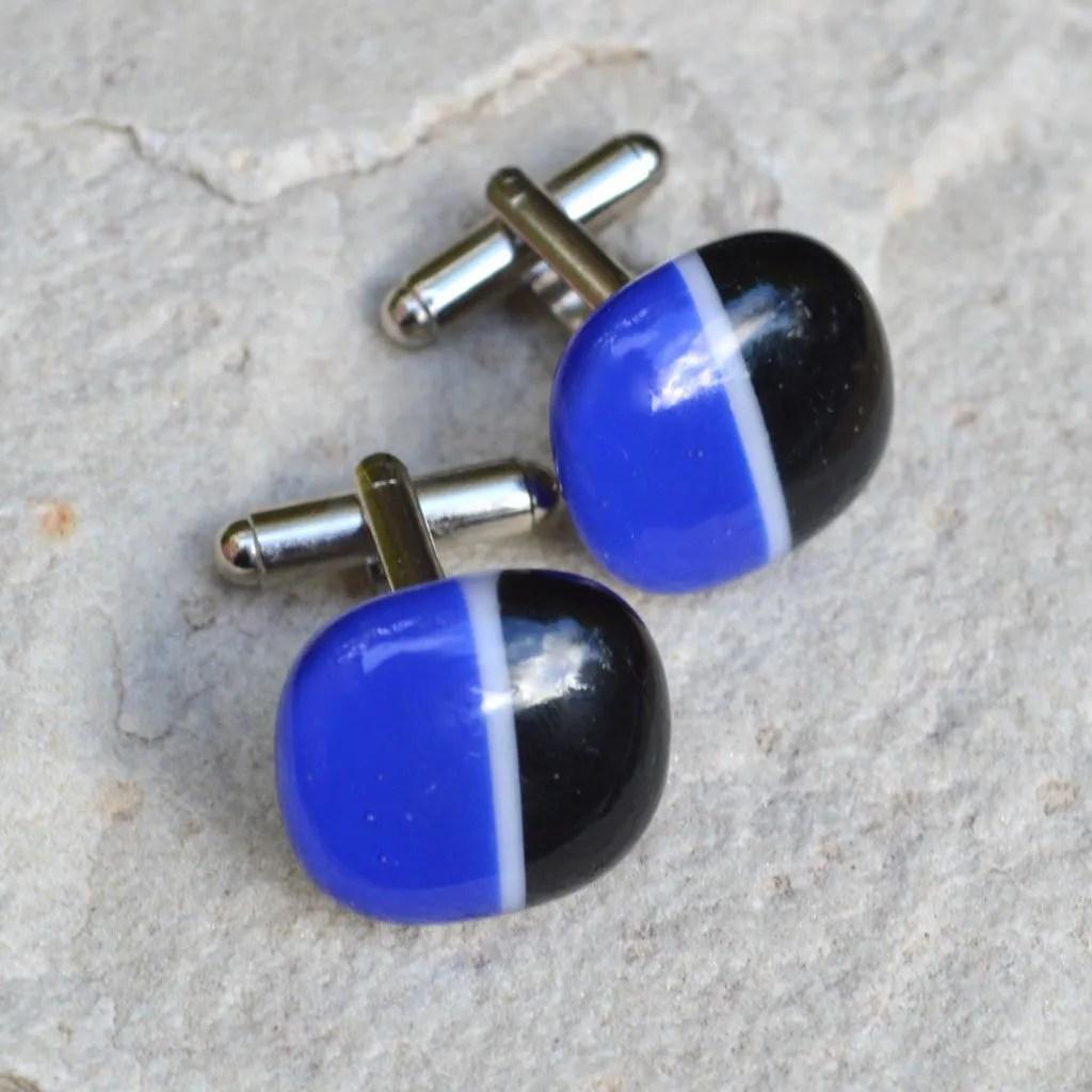 Wickstead's-AW-Designs-UK-Rainbow-Fused-Glass-Cufflinks–Black-Blue-(2) – Copy