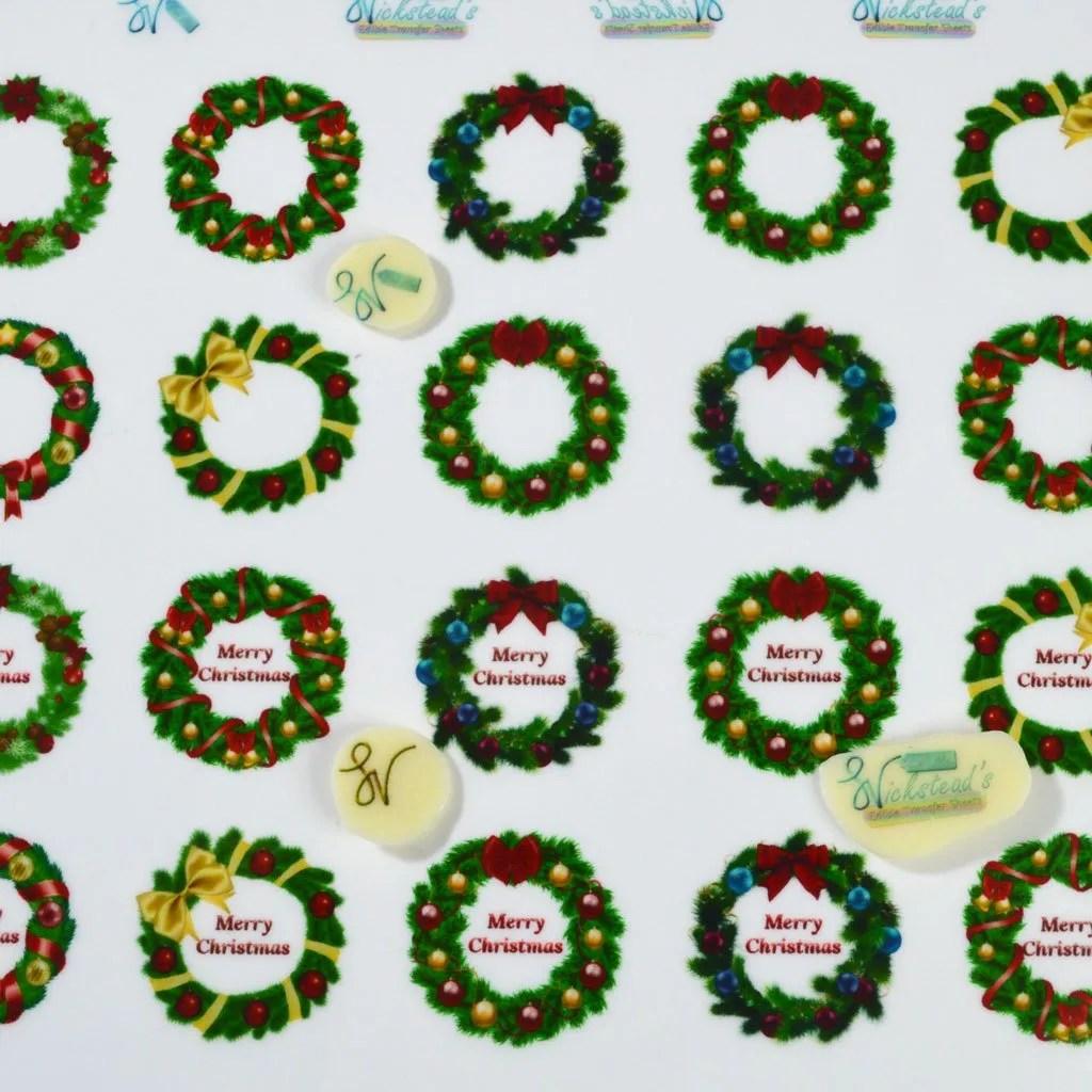 Wickstead's-Eat-Me-Edible-Chocolate-&-Meringue-Transfer-Sheets–Christmas-Wreaths