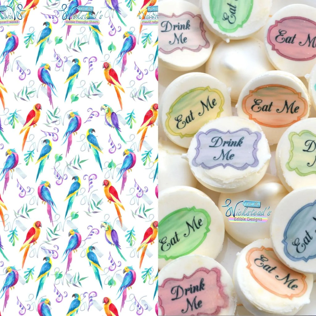 Wickstead's-Eat-Me-Edible-Meringue-Transfer-Sheets–Tropical-Watercolour-Parrots-(1)