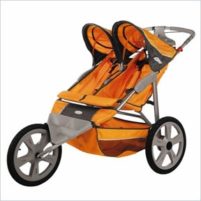 InSTEP Flash Fixed Wheel Jogger Double Stroller in Orange/Gray