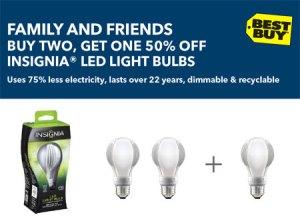 Insignia LED Light Bulb Coupon