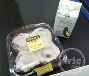 The Bakery at Walmart Cinnamon Rolls and Starbucks Holiday Blend Coffee