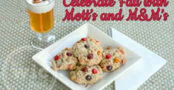 Celebrating Fall with M&M's and Motts – Oatmeal M&M's Fall Cookies and Mott's Caramel Apple Cider with Cinnamon Whipped Cream
