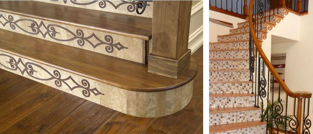 Design Ideas For Stairs To Match Your Custom Hardwood Floors | Wood Stairs With Tile Risers | Grey | Diy | Design | Mosaic | Stone