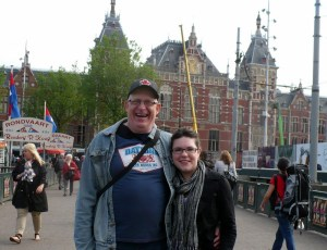 Cousin Peter and Mizz J, in front of Centraal Station (train station), Amsterdam