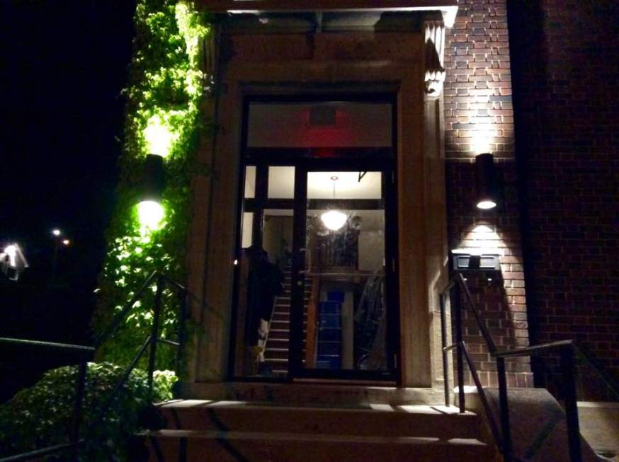 New entrance doors and exterior lighting.