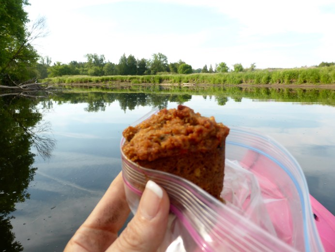 Breakfast on the water. A grain-free Morning Glory muffin.