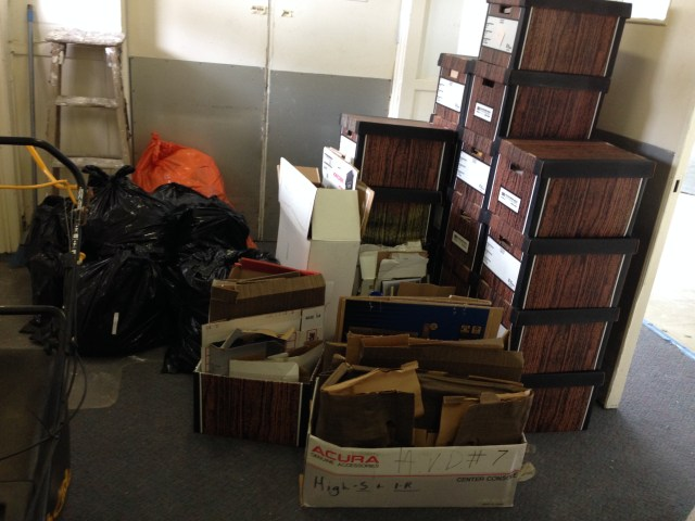 Paper and cardboard ready to go out for recycling. From one room in basement,