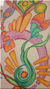 Wandmalerei Innenbogen Buntstift 2