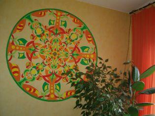 Wandmalerei Mandala rot-grün