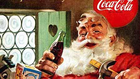 Der Weihnachtsmann als Maskottchen für Limonadenwerbung