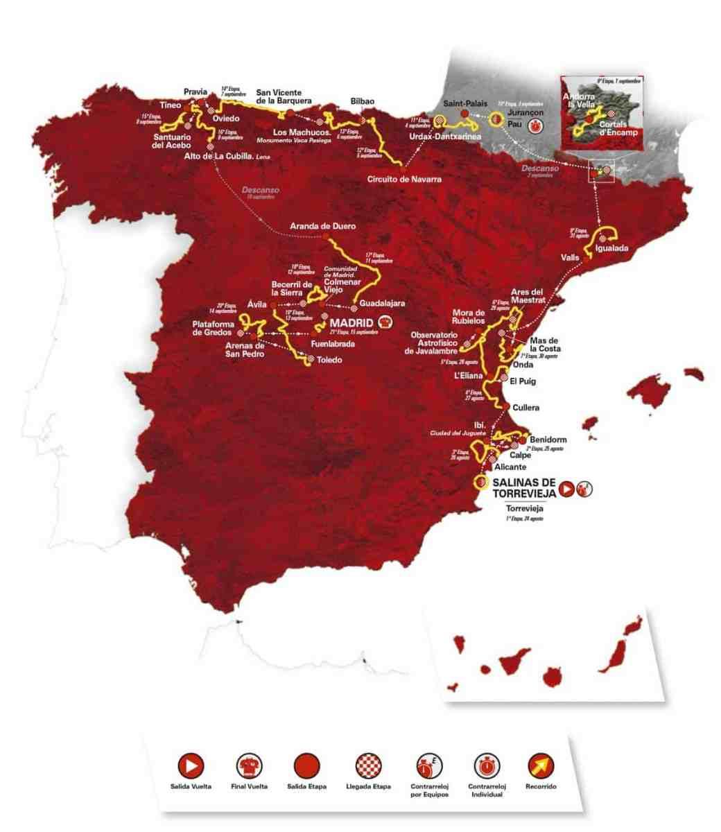 De route van de Vuelta 2019
