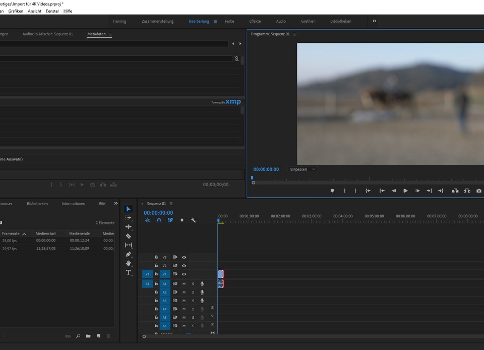 Screenshot Adobe Premiere