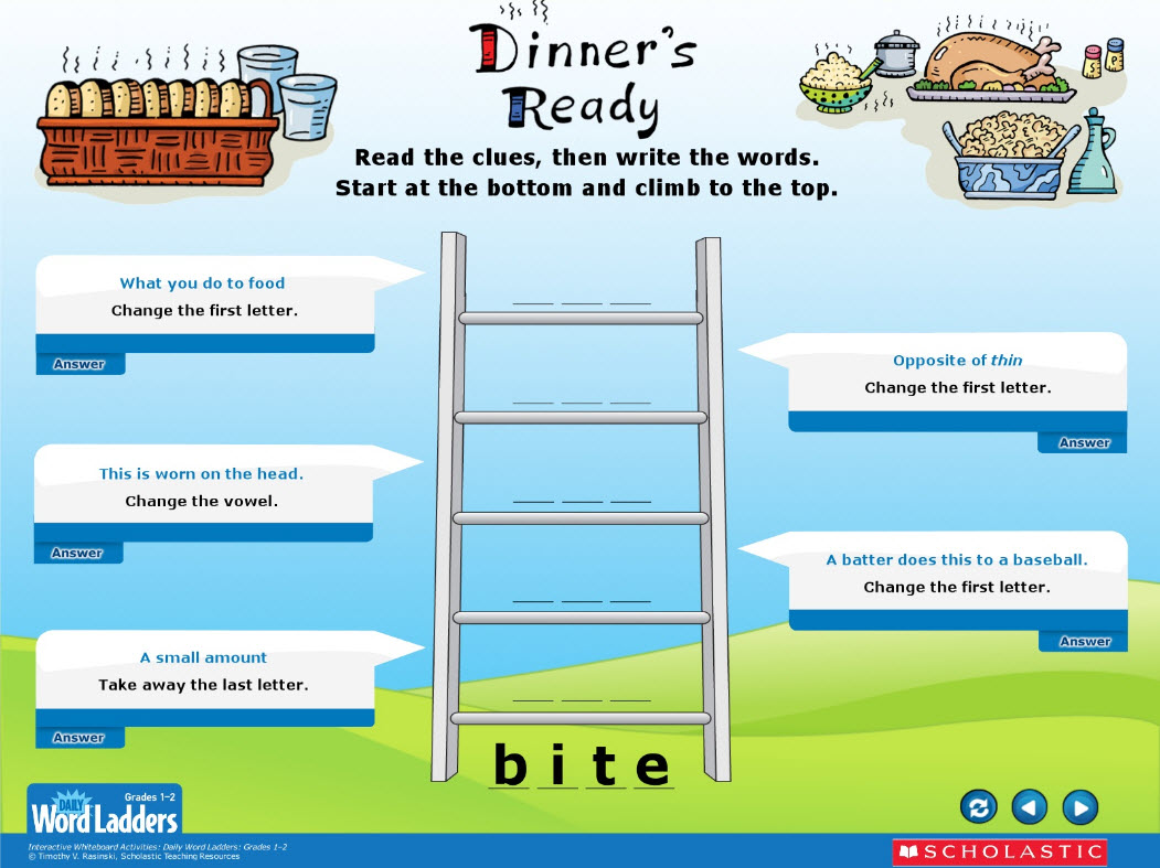 Daily Word Ladders For Interactive Whiteboards Grades 1 2