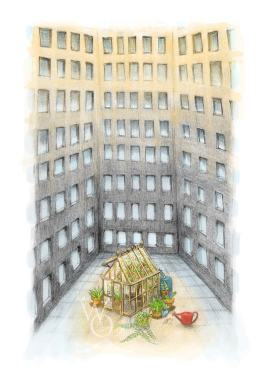 illustration of small greenhouse with lots of potted green plants in between large grey buildings