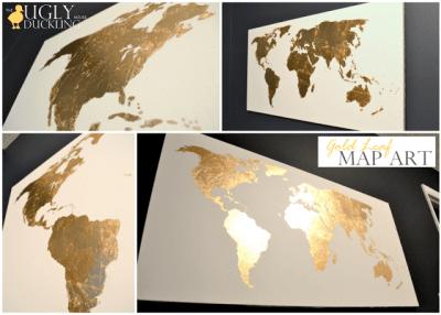 Gold leaf crafts: map art
