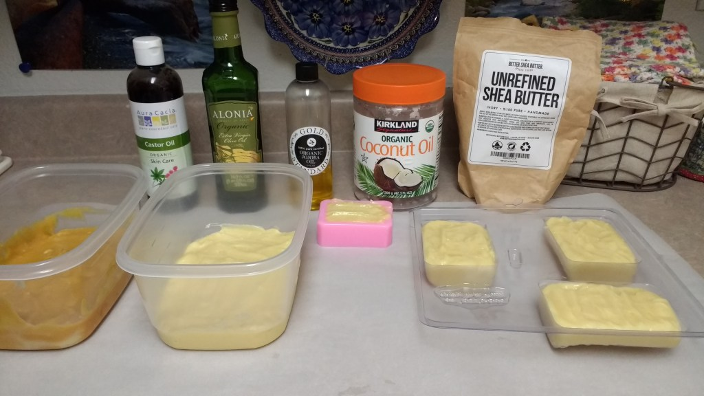 All ingredients and finished product of homemade soap