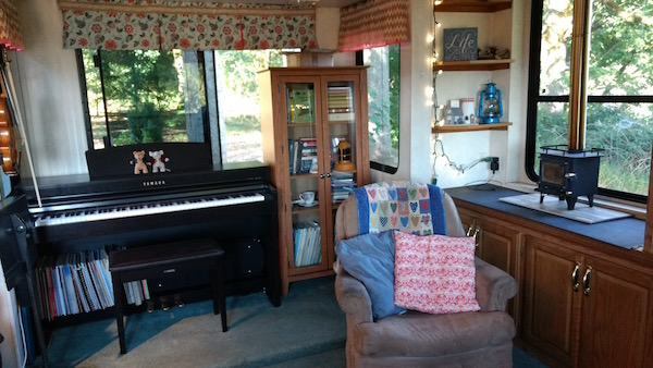 Music studio in a 5th wheel RV