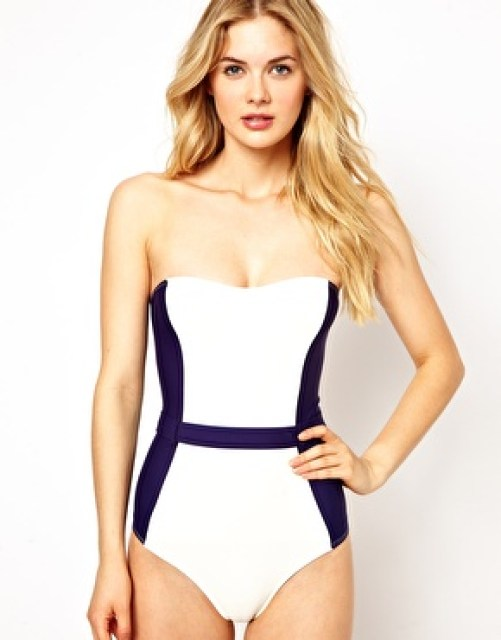 Image 1 of ASOS Contrast Panel Belted Bandeau Swimsuit